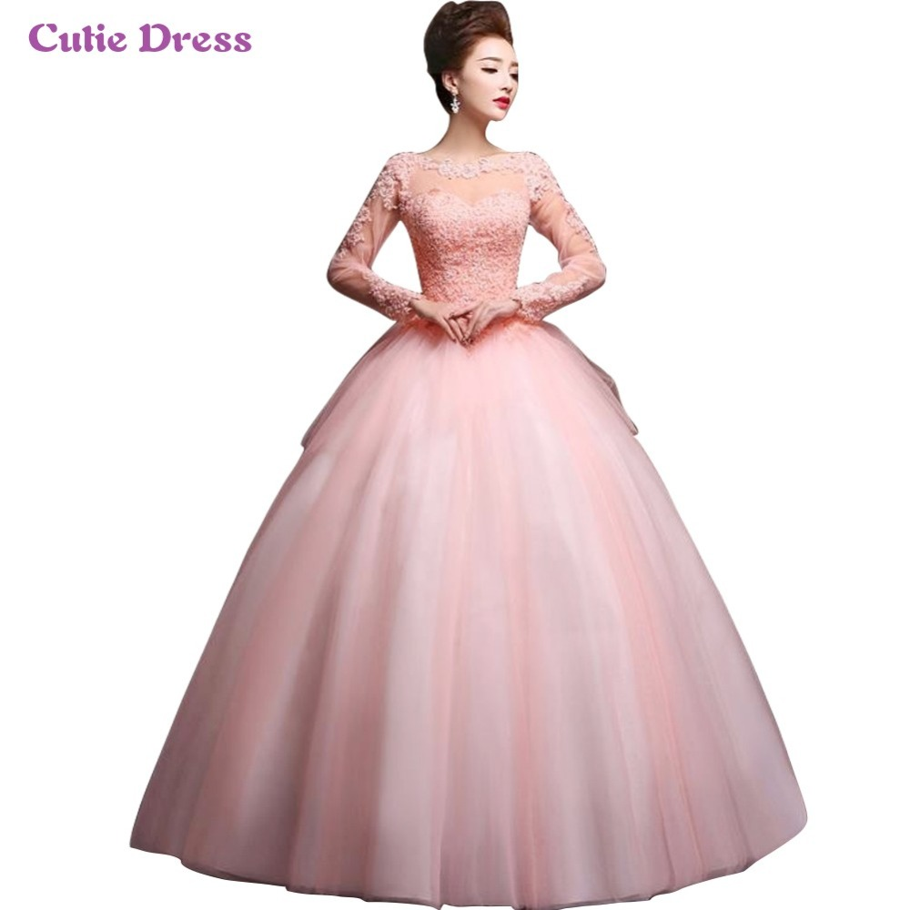 Modest Blush Pink Long Sleeves Quinceanera Ball Gown Prom ...