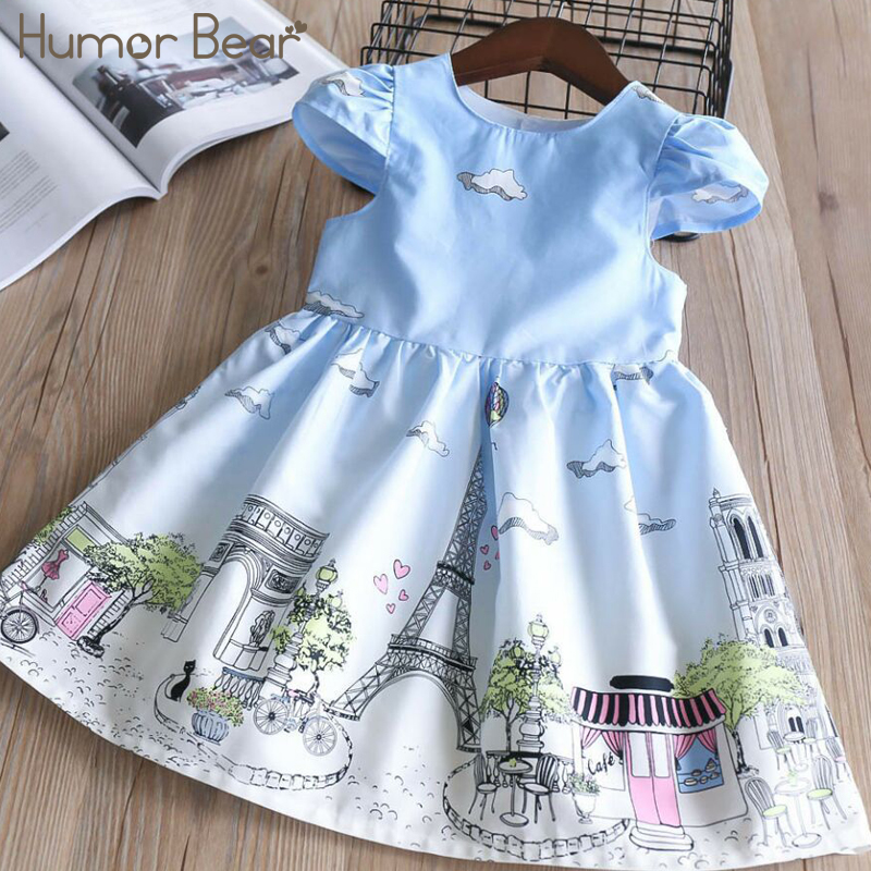 Humor Bear 2018 New Girls Dress Children Clothing Tower Pattern Princess Dress Costume for Kids Clothes girls winter coat clothes children coats jackets kids fashion coats for girl 2017 cotton padded jacket