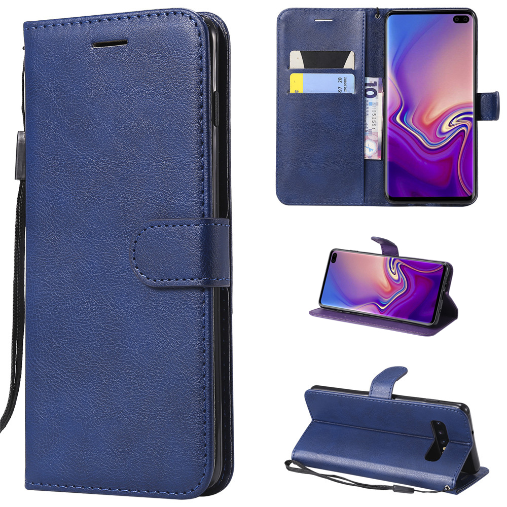 S10 for Samsung Galaxy S10 Plus Solid Color Business Leather Samsung Galaxy S10 E Luxury Flip Cover Card Slot Stander Wallet Cas