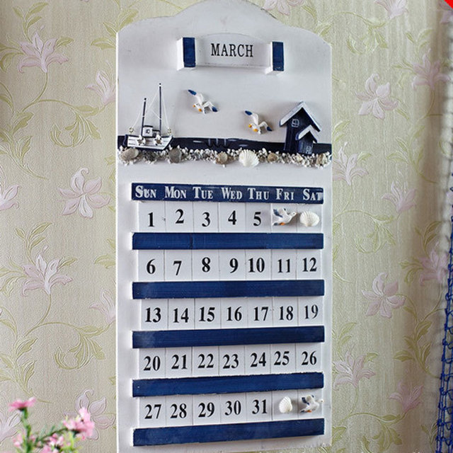 Mediterranean Style Home Calendar Listing Handmade Wooden Wall Calendars  Creative Home Decoration Shop Amazing Ideas