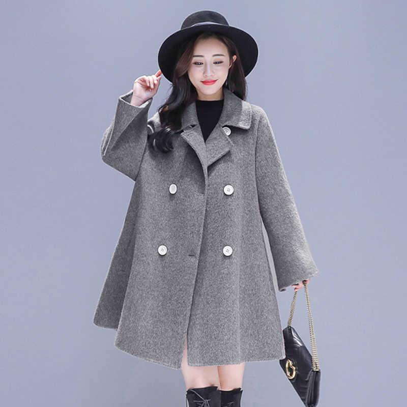 Горячая Распродажа осенне-зимнее женское Шерстяное Пальто и женское элегантное двубортное пальто с поясом новая шерстяная куртка с рукавами «летучая мышь»