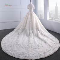 Dream Angel Sexy Boat Neck Short Sleeve Wedding Dress 2018 Appliques Beaded Flowers Lace Bride Gown