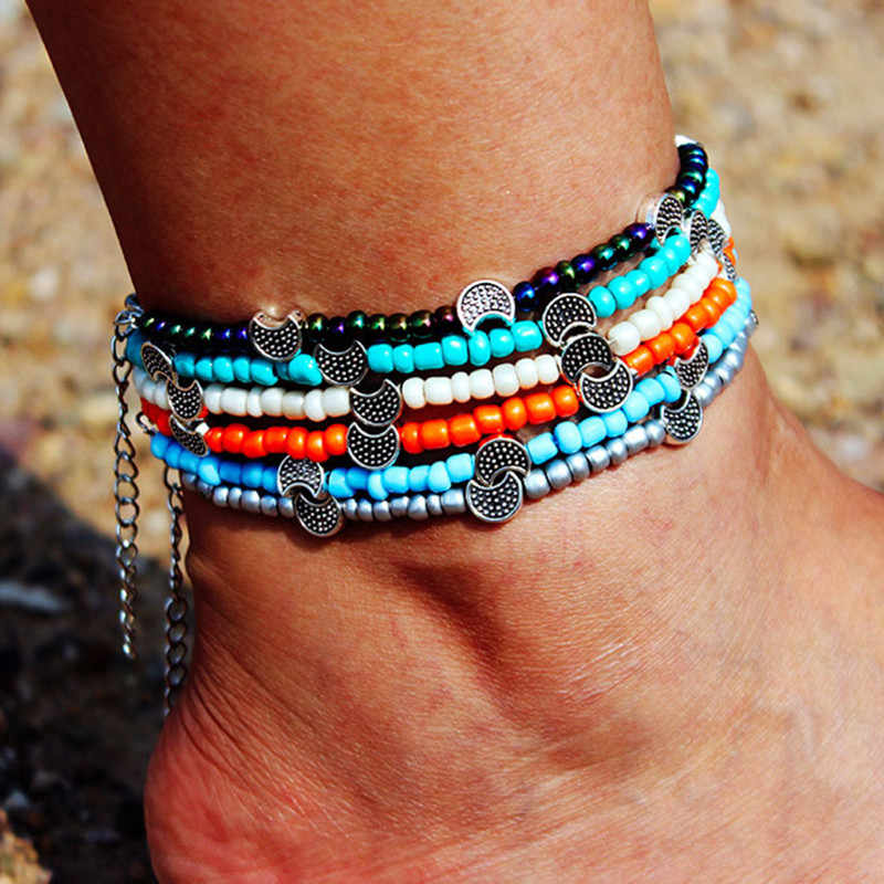 DIEZI Bohemia Boho Beads Anklets for Women Vintage Leather Rope Leg Ankle Anklet Moon Sun Charm Bracelet Beach Jewelry