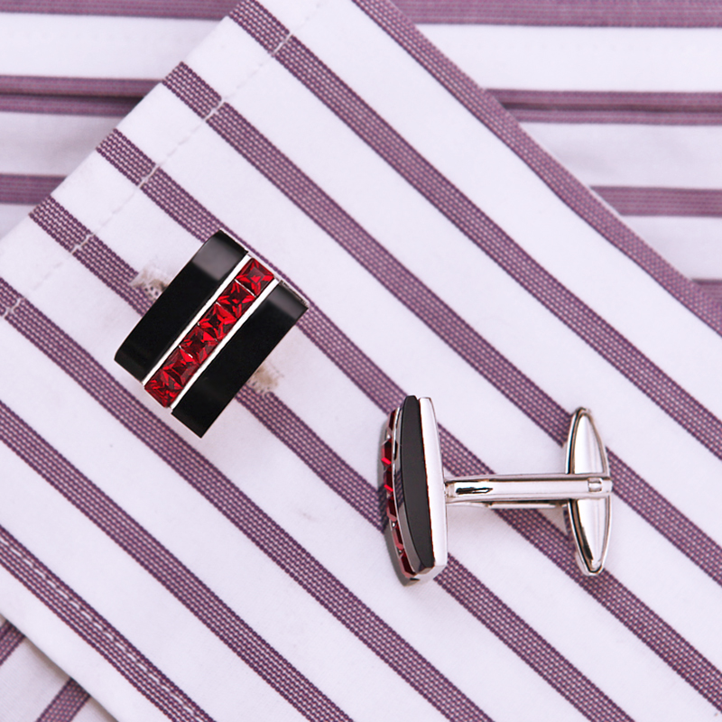 Image 4 - KFLK Jewelry fashion shirt cufflink for mens gift Brand cuff button Red Crystal cuff link High Quality abotoaduras guestsbrand cufflinks for menscufflinks for menscufflinks for mens brand -