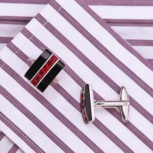 Image 4 - KFLK biżuteria modna koszula spinka do mankietu dla mężczyzn prezent marka spinka mankietowa czerwony kryształ spinki do mankietów wysokiej jakości abotoaduras goście