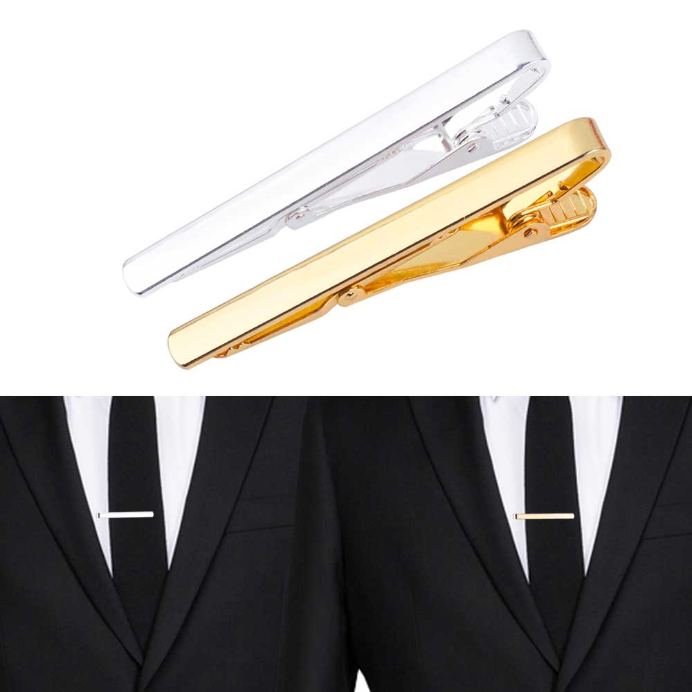 FAMSHIN 2017 Fashion Metal Silver Gold Simple Necktie Tie Bar Clasp Clip Clamp Pin for men gift