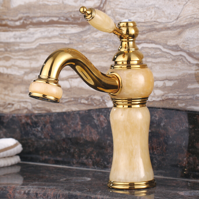 European antique marble vanities gold-plated faucet hot and cold faucet retro full-copper natural jade single handle sing holeEuropean antique marble vanities gold-plated faucet hot and cold faucet retro full-copper natural jade single handle sing hole