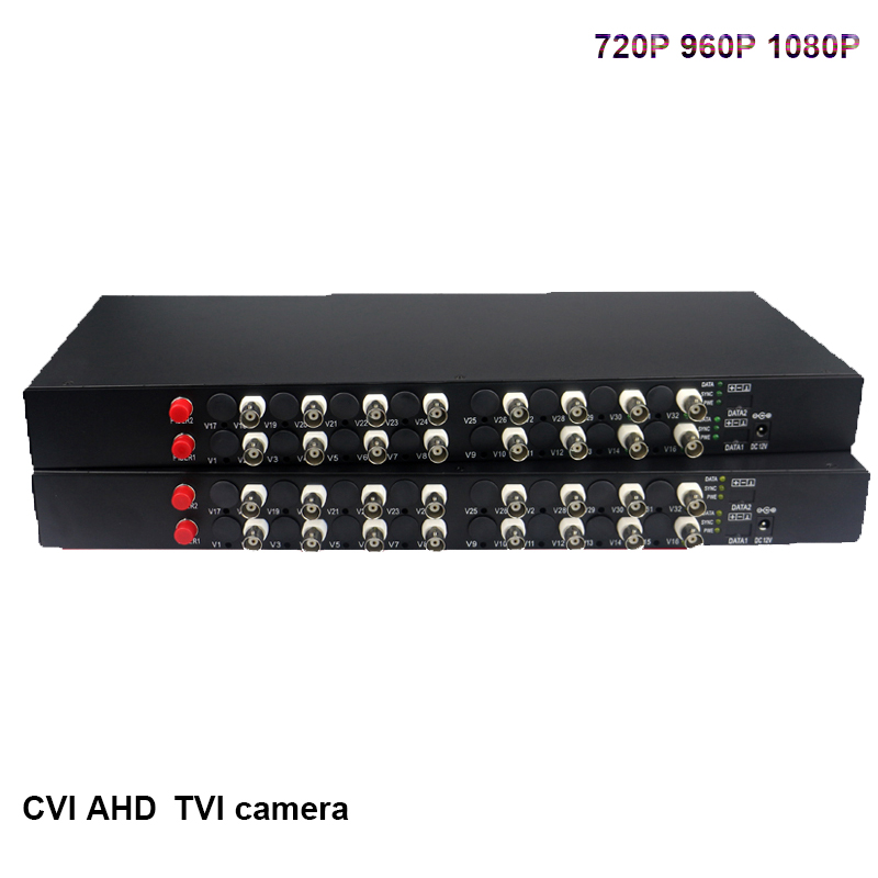 16 ch 1080P HD video AHD CVI TVI Fiber optical converter video fiber optic transmitter receiver support Hikvision dahua cameras