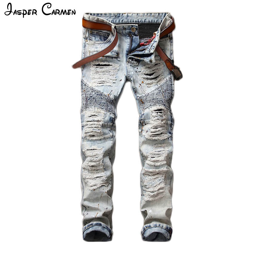 2017 new mens jeans Holes pants style elasticity casual trousers cool stretch man denim pants spring and summer 98z