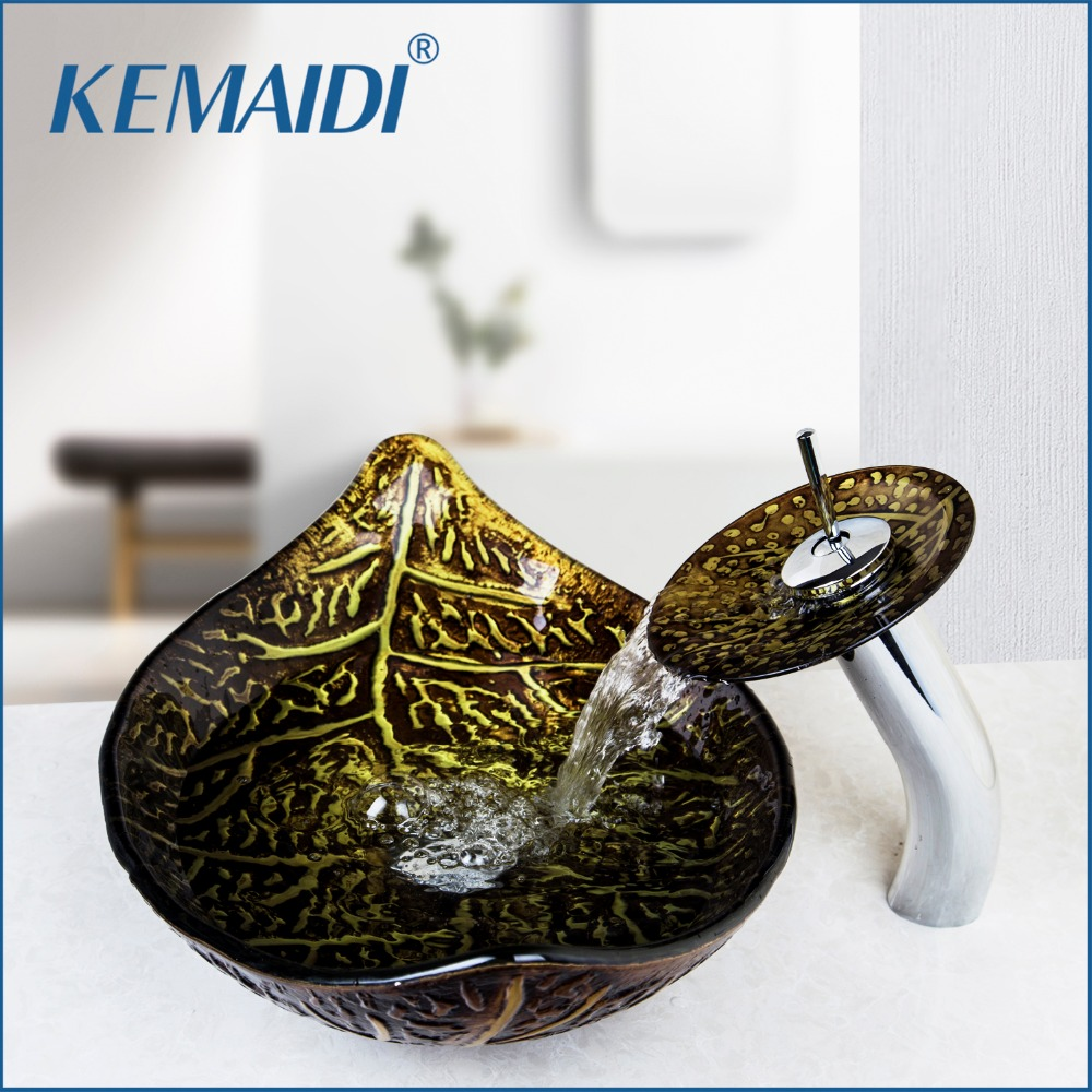 KEMAIDI New Bathroom Sink Washbasin Bath Set Faucet Mixer Taps Tempered Glass Hand Painted Waterfall Spout Basin Tap
