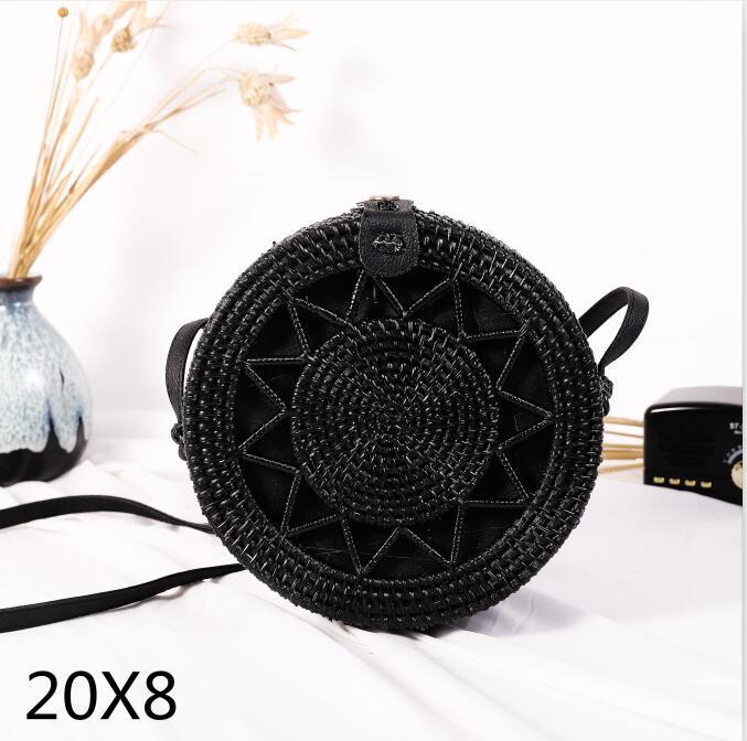 Woven Rattan Bag Round Straw Shoulder Bag Small Beach HandBags Women Summer Hollow Handmade Messenger Crossbody Bags 26