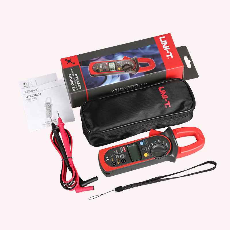 Digital  Handheld Clamp multimeter UNI-T UT204A professional True RMS LCD Multifuction  Ohm DC AC Voltmeter AC Ammeter Data Hold