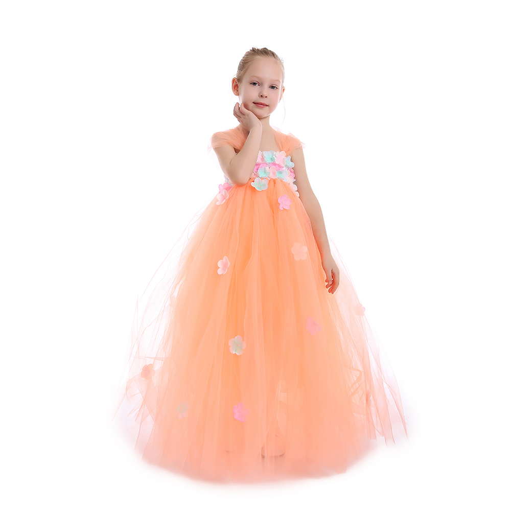Aliexpress.com   Buy Cute Peach Flower Girls Tutu Dress Kids Party Dresses  for Girl Bridesmaid Wedding Dresses Ball Gown Baby Dance Dress Birthday  from ... ffe6db5302b9