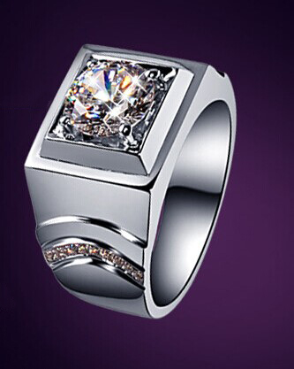 Gold-Ring Moissanite Diamond Jewelry Luxury Husband White Men 18K for Man Male Test-Positive