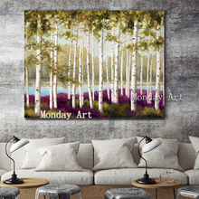 Hot sale Hand-painted modern tree paintings wall viem pictures landscape Painting art for Living Room home Decor
