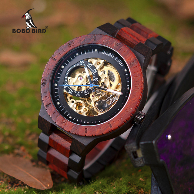 BOBO BIRD R05 Automatic Mechanical Watches Luxury Wooden Men Watch Gift for Dad relogio masculino de luxo