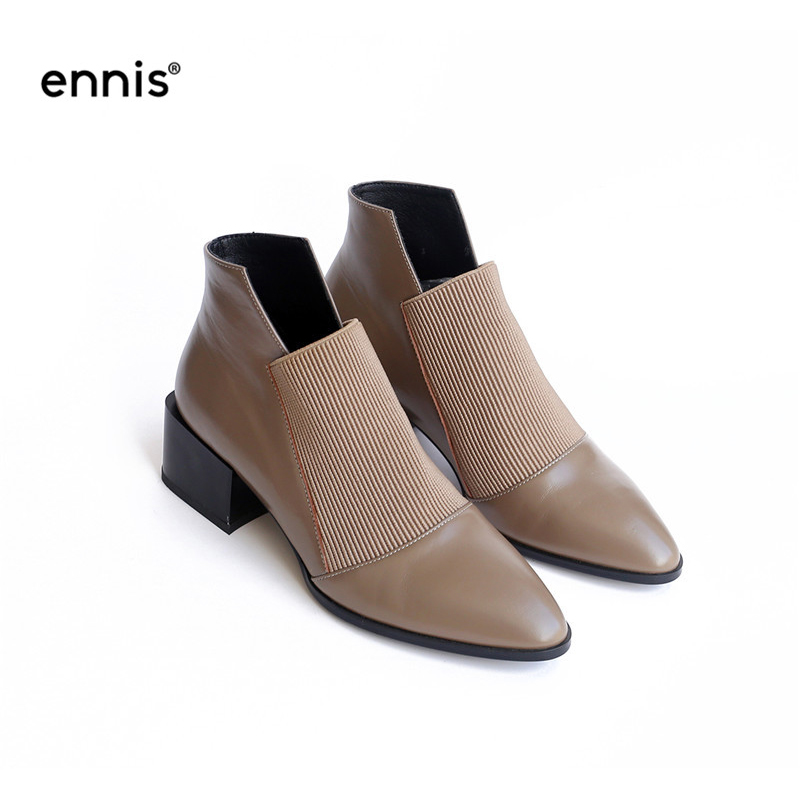 NEW Pointed Toe Women Boots Genuine Leather Ankle Boots Chunky Heel Autumn Black Kahki Fashion Female
