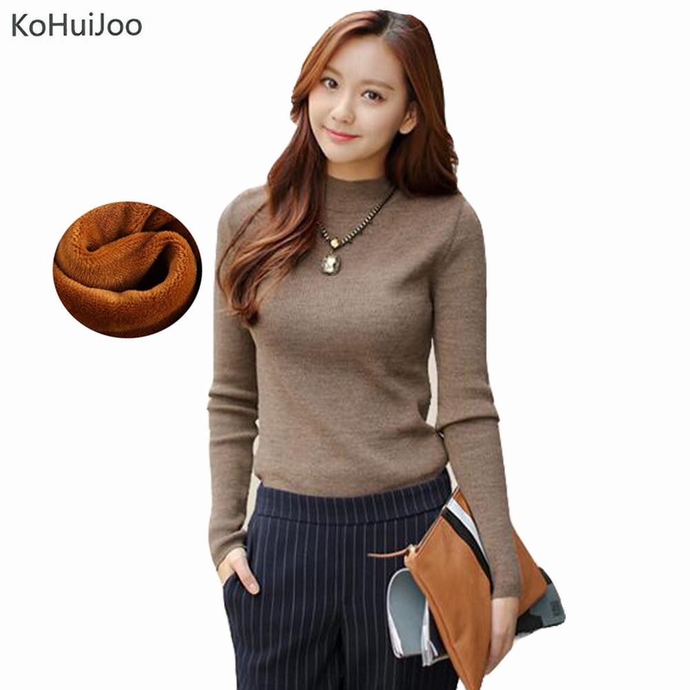 KoHuiJoo S-4XL Plus Size Women Sweaters and Pullovers Winter Plus Velvet Warm Wool Pullover Half Turtleneck Jumper female