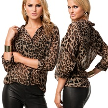 Sexy Women Wild Leopard Print Chiffon Blouse Fashion Lady Long Sleeve Tops Shirt Loose V neck Leopard Blouse S-2XL(China)