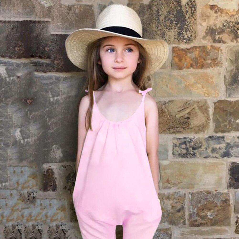 Bayi Gadis Tali Jumpsuit Fesyen Kanak-kanak Gadis Gadis Pink - Pakaian kanak-kanak
