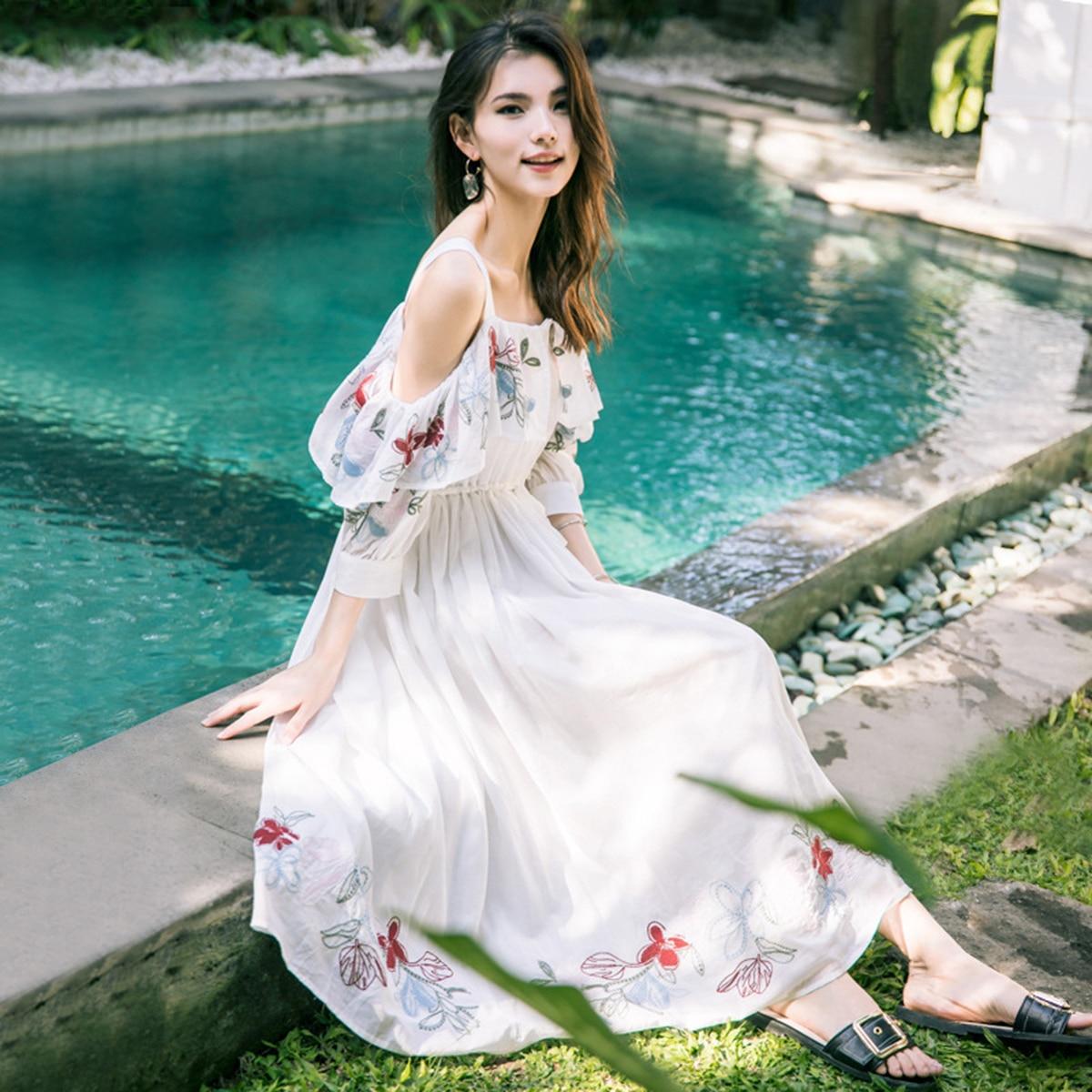 Jastie épaule dénudée robe d'été broderie nationale robes Vintage Boho Chic vacances robe plage femmes robes Vestidos