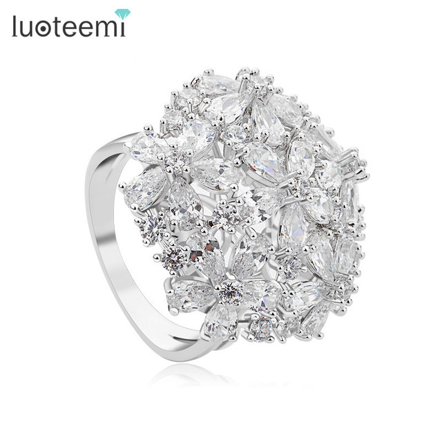 LUOTEEMI New Luxury AAA Clear Cubic ZIrconia Elegant Bowknot Wedding Rings Women
