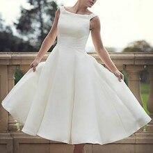 60s Vintage corto té longitud vestidos de novia simples cuello redondo bola Vestido de satén recepción mujeres segunda boda vestidos de novia