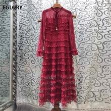 Top Quality New 2019 Autumn Long Evening Vestidos Women Bow Collar Cascading Ruffle Lace Sleeve Dress Wine Red Blue Black