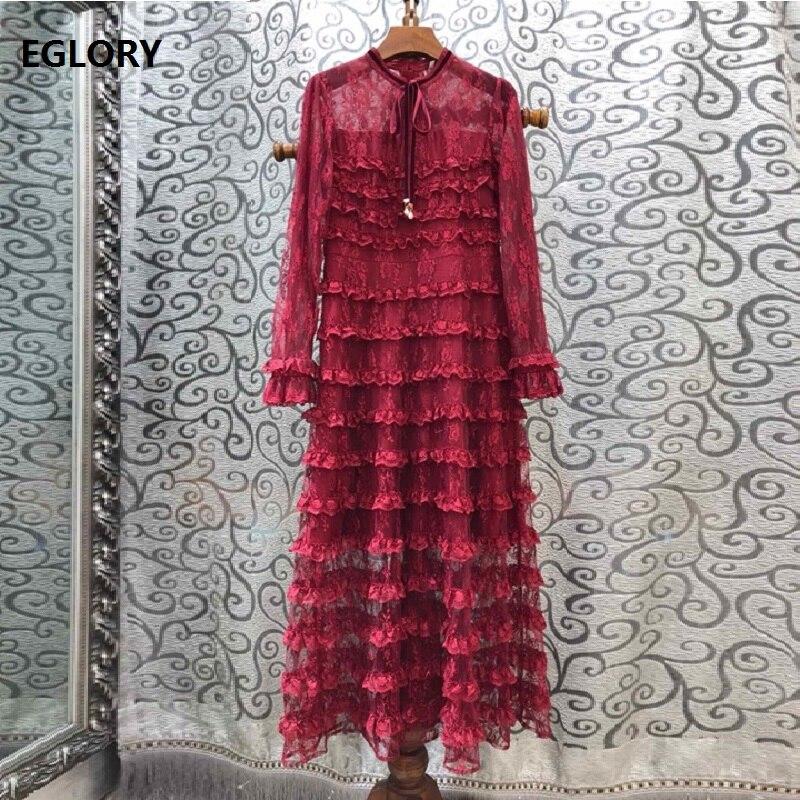 Top qualité nouveau 2019 automne longue soirée Vestidos femmes arc col en cascade à volants dentelle à manches longues robe vin rouge bleu noir