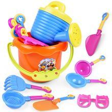 Летняя забавная случайная 9 шт. для малышей, для детей, для улицы, для морского песка, пляжа, ведро, лопата, грабли, водные игрушки, набор, Классическая Детская водная игрушка