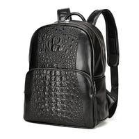 Fashion PU Crocodile Men's Backpack Male Leather Backpacks High Quality Student Bag Men Rucksack Bagpack mochila