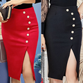 S-5XL 2017 Autumn Winter New Elegant Sexy Bodycon Slim Button Split Slit High Waist OL Women Pencil Skirt Office Plus Size