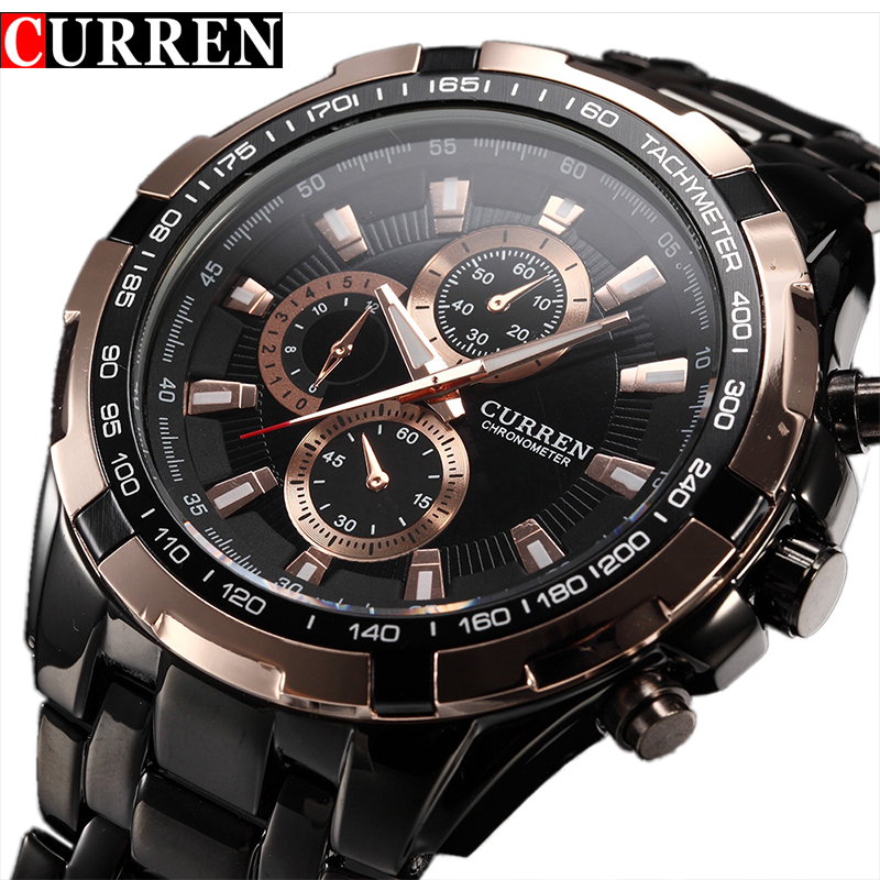 Fashion Curren Luxury Brand Man Quartz Full Stainless Steel Watch Casual Military Sport Men Dress Wristwatch Gentleman 2017 New