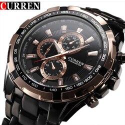 43884c635fd Moda Curren Marca De Luxo Homem de quartzo Relógio de aço inoxidável  completa Casual Vestido Homens