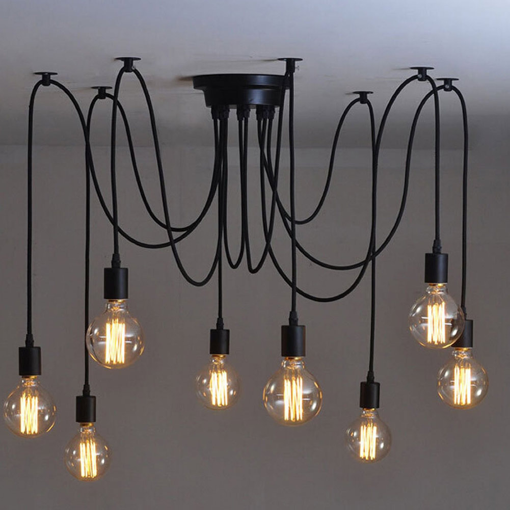 Modern Nordic Retro Light Spider Chandelier  Ceiling Lamp Vintage Loft Antique Adjustable DIY E27  Edison Bulb Art Fixture Light hemp rope chandelier antique classic adjustable diy ceiling spider lamp light retro edison bulb pedant lamp for home