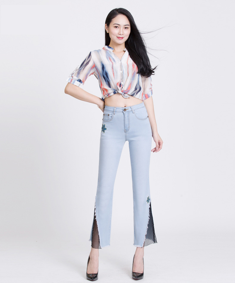 KSTUN hight waist jeans woman bell bottom emboridered denim pants push up net designer women slim fit gloria+jeans plus size 36 11