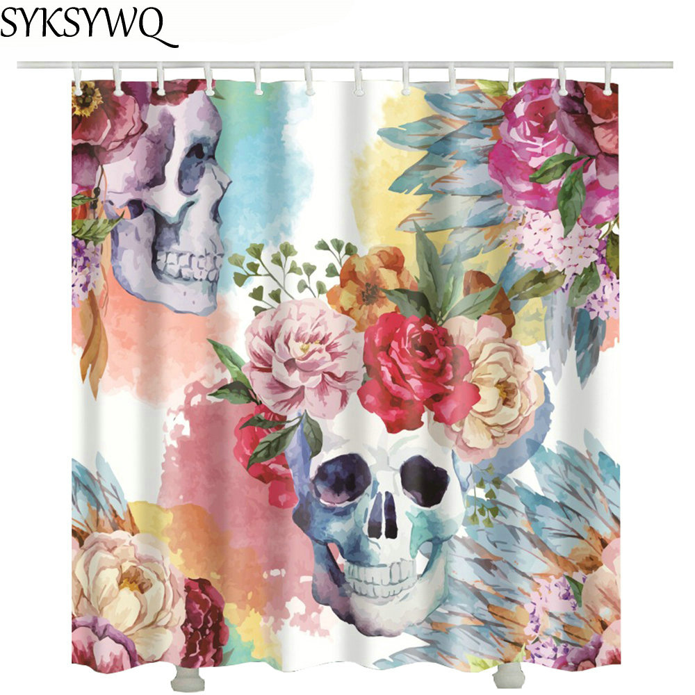 2018 new flower skull shower curtain 3d drop shipping douchegordijn waterproof fabric shower curtain