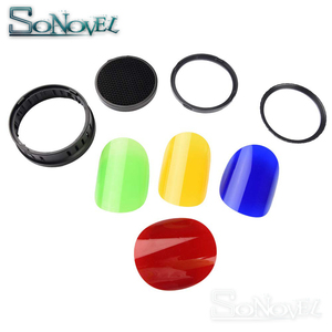 Image 3 - Godox BD 08 Schuur Deur met Honeycomb Grid en 4 Kleur Gel Filters voor Godox AD400Pro Outdoor Flash (Rood Geel blauw Groen)