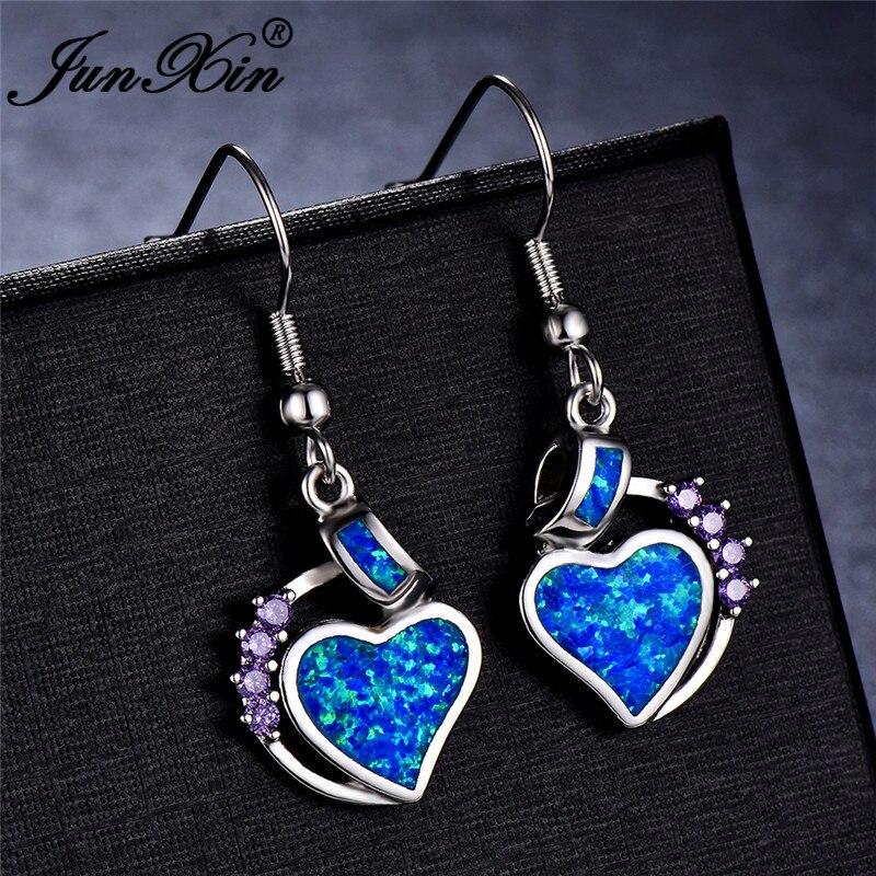 JUNXIN Love Heart Dangle Blue White Fire Opal Drop Earrings For Women White Gold Filled Purple Zircon Birthstone Earrings Gift