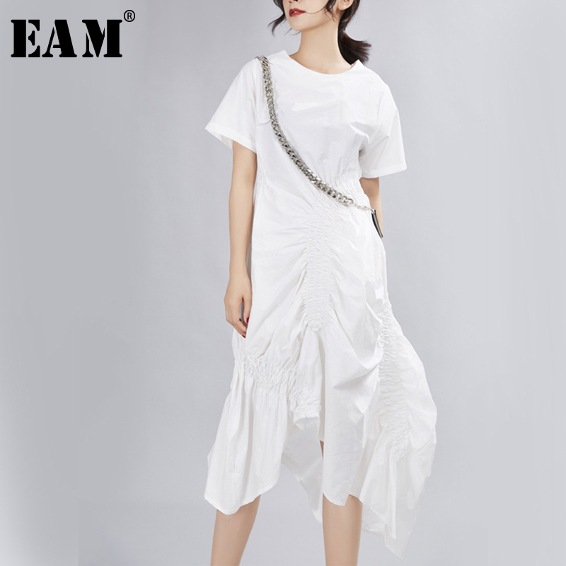 [EAM] 2020 New Spring Summer Round Neck Short Sleeve Black Pleated Split Joint Loose Irregular Dress Women Fashion Tide JX339
