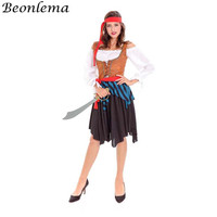 Beonlema Pirate Cosplay Dress Circus Party Adult Warrior Costume Woman Role Play Outfit Suits Vest And Long Sleeve Femme Dress