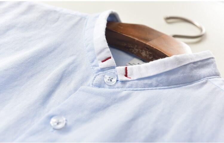Suhaiwe moda moške slim majica z dolgimi rokavi posteljnina srajco - Moška oblačila - Fotografija 3