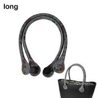 New 1 Pair Long Floral Print Soft Faux PU Leather Handle for Obag Classic O Bag Women Shoulder Handbag