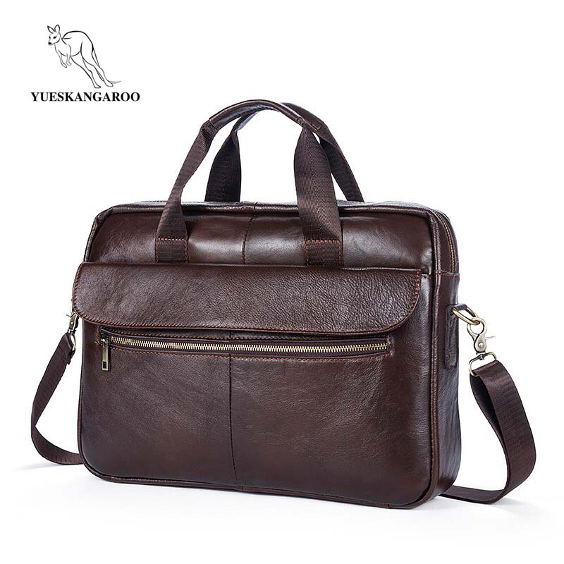 2018 Men Casual Briefcase Bag Genuine Leather Laptop Bag Shoulder Messenger Bags Business Computer Handbag Male Bag Brown 1117 new high quality male leather men laptop briefcase bag 14 inch computer bags handbag business bag single shoulder business bags