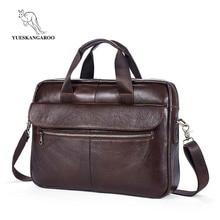 2018 Men Casual Briefcase Bag Genuine Leather Laptop Bag Shoulder Messenger Bags