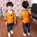 Spring&Autumn 2016 Children Outwear Long Sleeve Hooded Jacket Coat Kids Clothes Boy Jacket Character Print Fashion Jacket 2-7Y