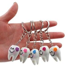 Image 1 - 10 adet diş diş şekli modeli simülasyon diş anahtarlık moda karikatür güzel kız hediye kolye diş anahtarlık