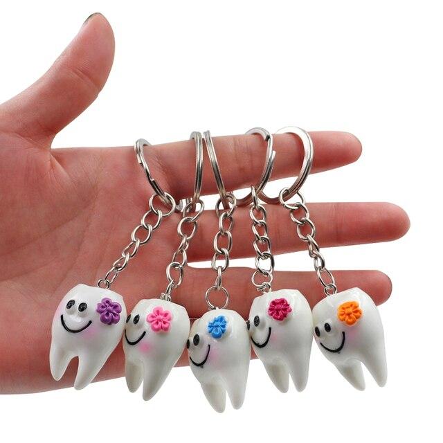10 قطعة الأسنان الأسنان شكل نموذج محاكاة الأسنان مفتاح سلسلة الموضة الكرتون جميل الفتيات قلادة هدية مفتاح سلسلة الأسنان