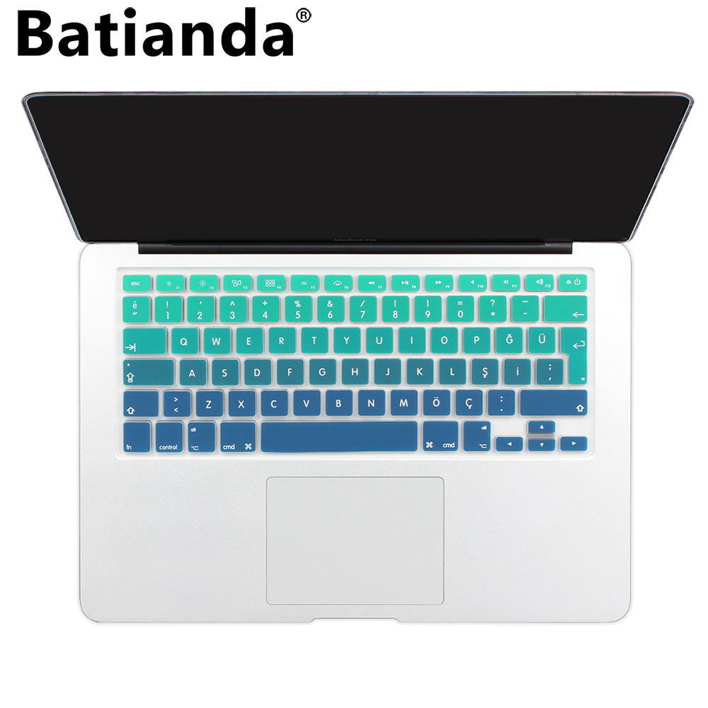 2020 Gradient Keyboard Cover Skin for Turkey MacBook Air 13 Pro 13 15 Retina Silicone Turkish Euro Enter Keyboard Stickers-Rainbow