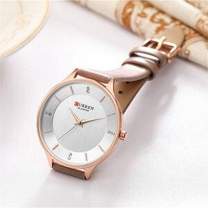 Image 5 - שעונים לנשים למעלה מותג CURREN ריינסטון נשים של Wriswatch עם עור גבירותיי שמלה שעון נשי שעון Relogio Feminino